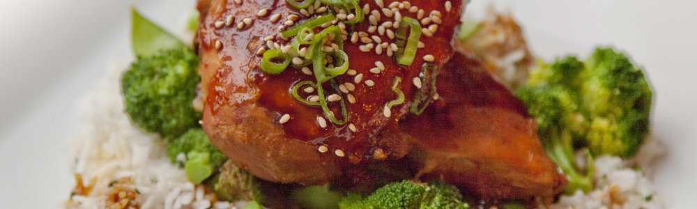 Chinese BBQ Chicken with Broccoli, Snow Peas and Basmati Rice