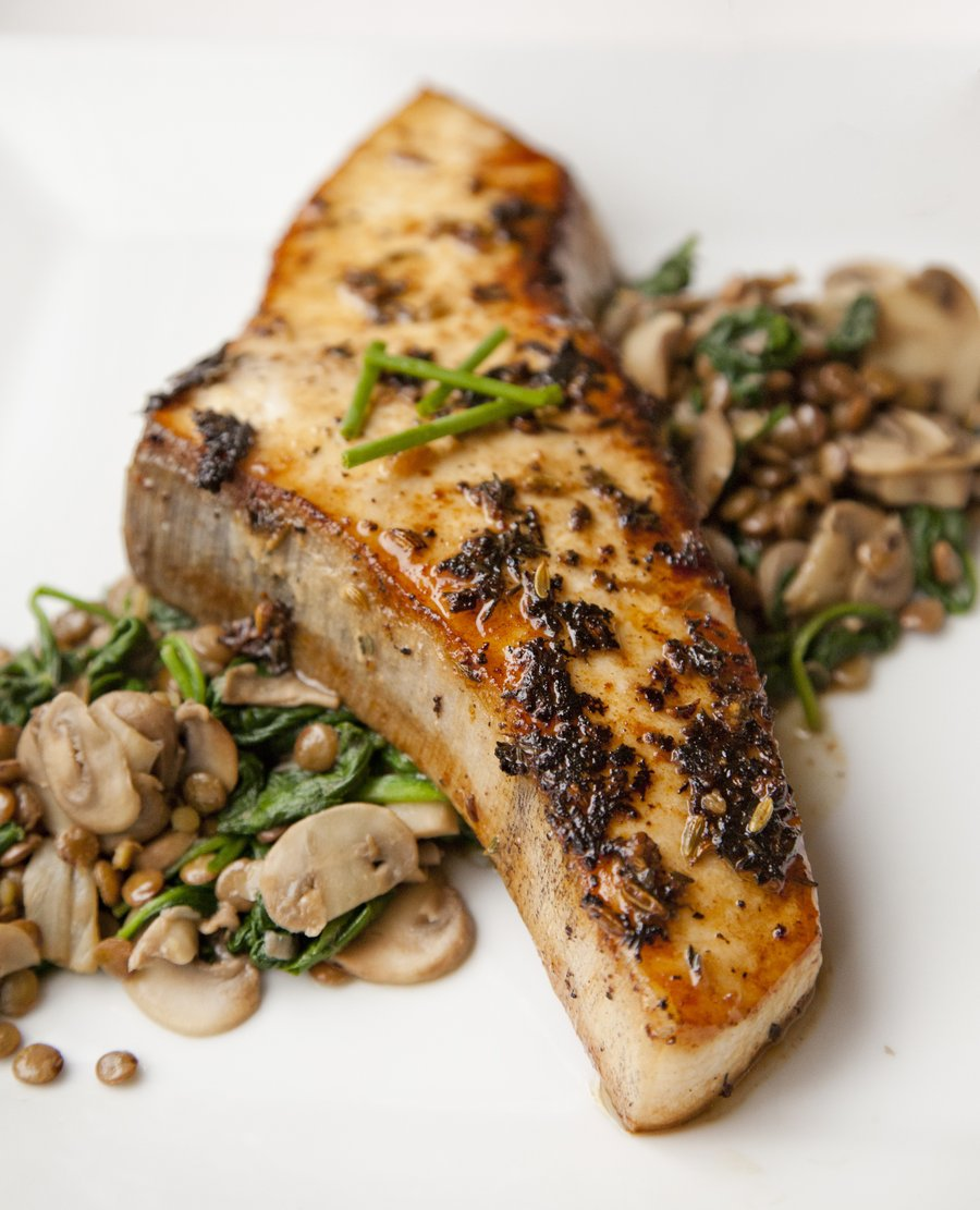 Urbancookery saut ed swordfish over a lentil spinach for Sword fish recipes