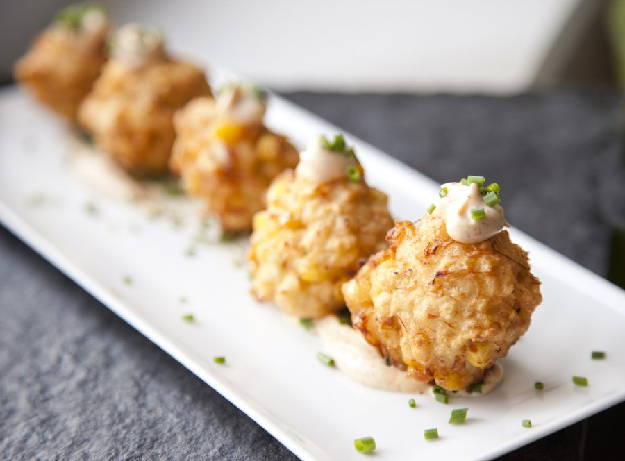 UrbanCookery - Blue Crab and Corn Fritters with a Chipotle Aioli