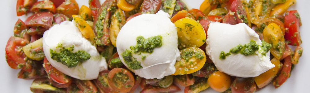 Tomato & Burrata Salad with Basil Vinaigrette