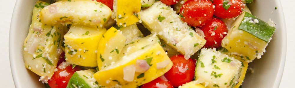 Zucchini and Grape Tomatoes with Parmesan
