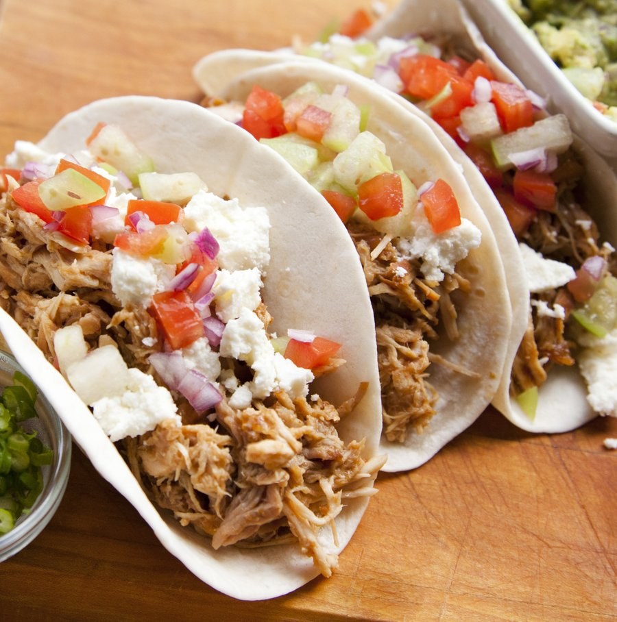bbq pork tacos with queso fresco slow cooked pork loin shredded and ...