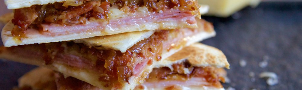 Prosciutto, Gruyere & Bacon Jam Quesadillas