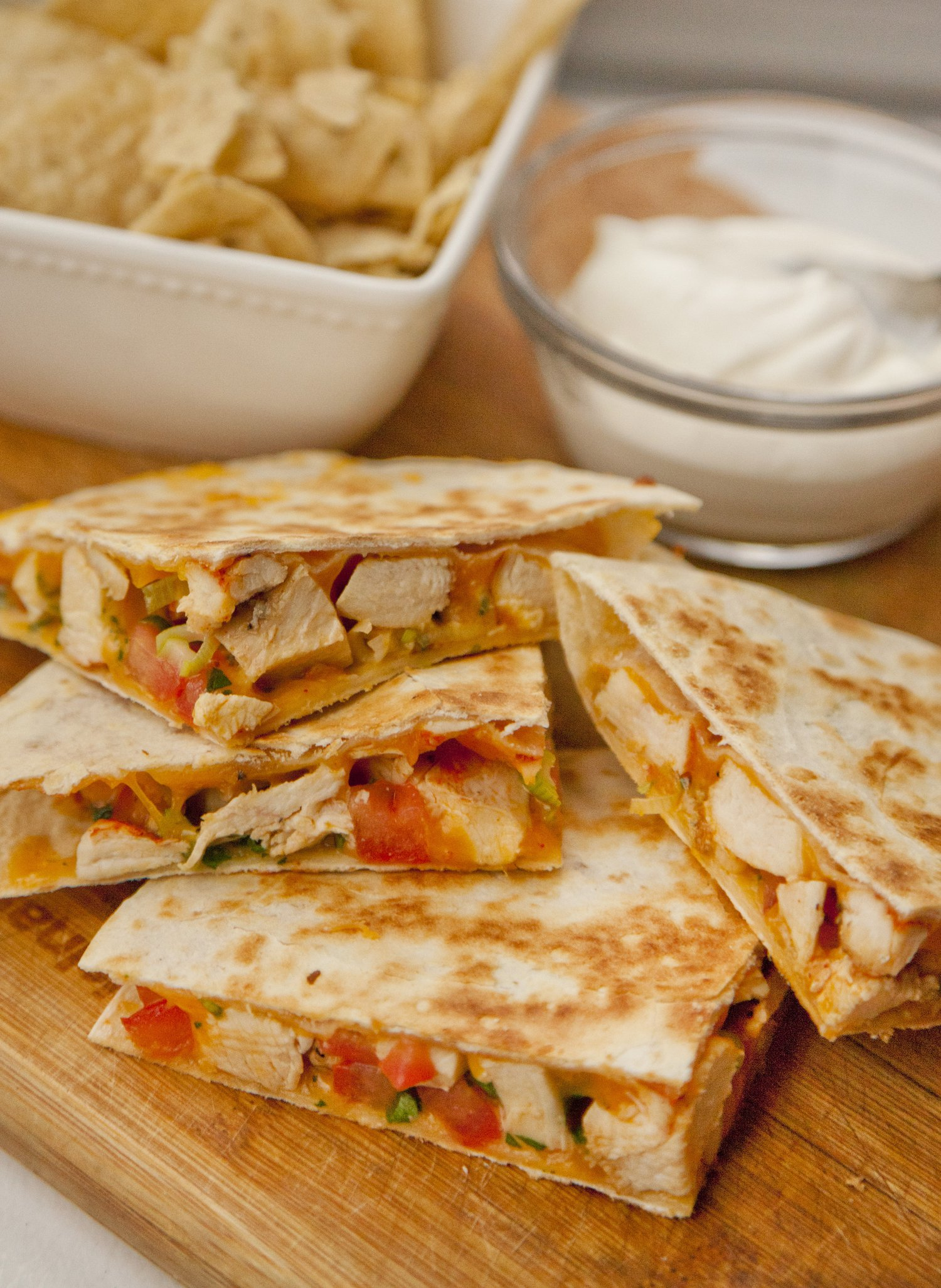recipe: chicken cheese quesadillas [3]