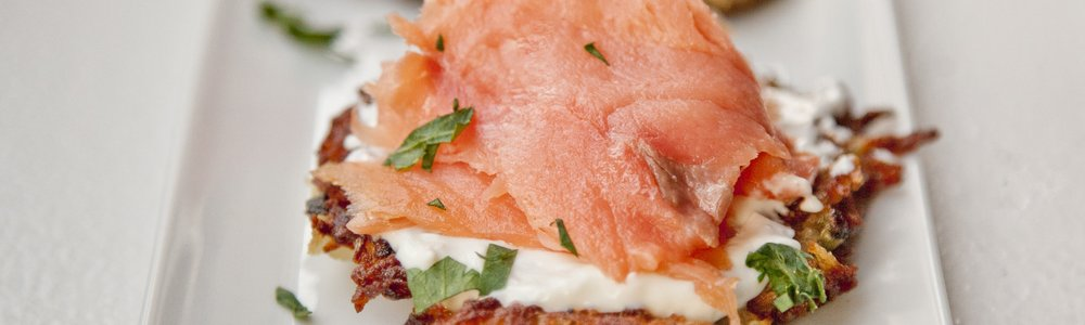 Potato Pancakes with Salmon and Creme Fraiche