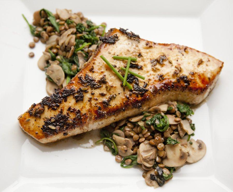 ... - Sautéed Swordfish over a Lentil, Spinach and Mushroom Salad